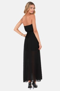 Flutter You Up Strapless Black Maxi Dress at Lulus.com!