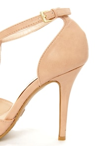 Anne Michelle Momentum 40 Nude T-Strap Pointed Pumps at Lulus.com!