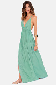 Titania's Woods Backless Seafoam Maxi Dress at Lulus.com!