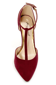 Anne Michelle Momentum 40 Bordeaux T-Strap Pointed Pumps at Lulus.com!