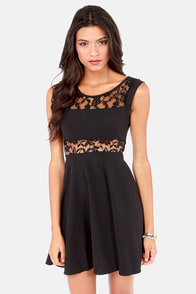 Peeks of Mine Lace Black Dress at Lulus.com!