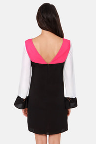 House Lattice-ter Color Block Black Dress at Lulus.com!