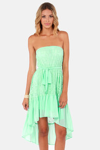 Angel Falls Strapless Mint Lace Dress at Lulus.com!