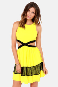 Slice Slice Baby Cutout Yellow Dress at Lulus.com!