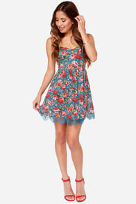 Our Little Sweetheart Blue Floral Print Dress at Lulus.com!