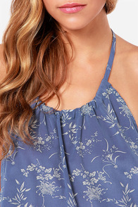 Seashore Stroll Slate Blue Halter Top at Lulus.com!