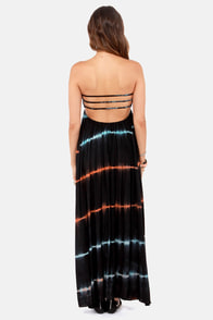 Slowly But Shirred-ly Black Tie-Dye Maxi Dress at Lulus.com!