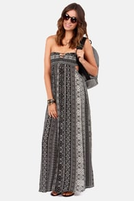 Print to the Finish Black and Ivory Maxi Dress at Lulus.com!