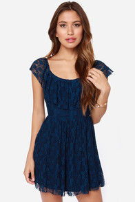 Falling into Lace Dark Blue Lace Dress at Lulus.com!