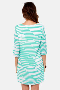 Give You a Print Aqua and White Dress at Lulus.com!