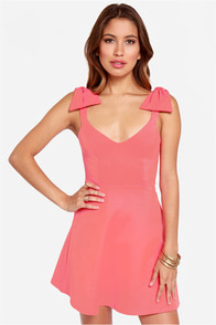 LULUS Exclusive Double Bow-nus Coral Pink Dress at Lulus.com!