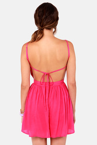 Getting Back Together Magenta Pink Backless Dress at Lulus.com!