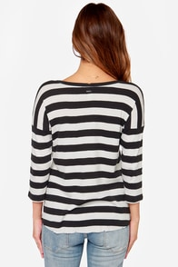 RVCA Frolicsome Distressed Black Striped Top at Lulus.com!