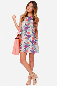 Petal to the Metal Backless Beige Floral Print Silk Dress at Lulus.com!