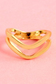 Twin Win Situation Gold Knuckle Ring at Lulus.com!