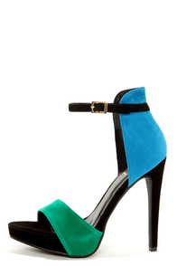 Fahrenheit Kimie 01 Mint and Blue Velvet Single Strap Heels at Lulus.com!