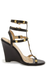 Jaida 8 Black and Gold Studded Wedge Sandals at Lulus.com!