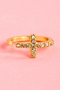 Leap of Faith Rhinestone Cross Knuckle Ring at Lulus.com!