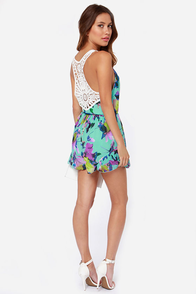 Reverse Tea Party Turquoise Floral Print Romper at Lulus.com!