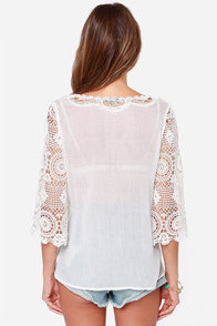 Sheerful Elegance Ivory Lace Top at Lulus.com!