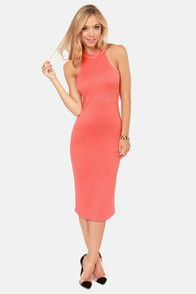 Body-Con Artist Coral Halter Dress at Lulus.com!