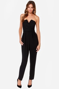 City Stroll Strapless Black Jumpsuit at Lulus.com!