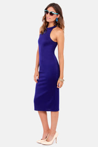 LULUS Exclusive Body-Con Artist Indigo Blue Halter Dress at Lulus.com!