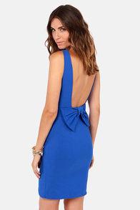 Bow Do You Do? Royal Blue Backless Dress