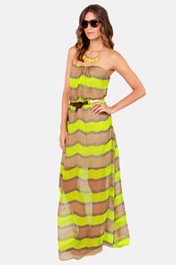 Aryn K Talk to the Bands Striped Silk Maxi Dress at Lulus.com!