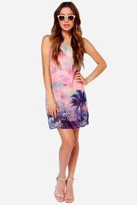 The Lux Life Sunset Print Dress at Lulus.com!