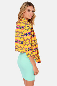 Gypsy Junkies Ogden Yellow Print Cropped Blazer at Lulus.com!