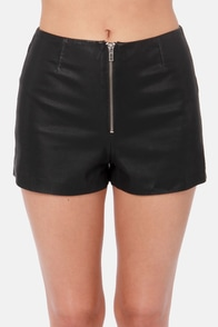 BB Dakota Brent Black Vegan Leather Shorts at Lulus.com!