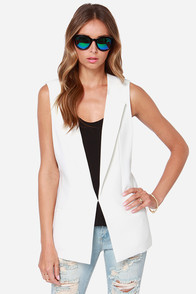 Aryn K Much Obliged Ivory Vest at Lulus.com!