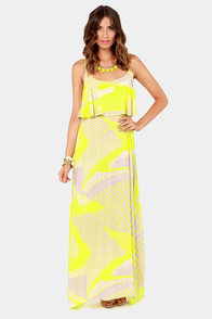 Electric or Two Bright Yellow Print Maxi Dress