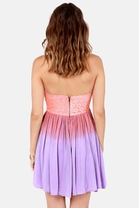 Get a Dip-Dye Strapless Pink and Lavender Lace Dress at Lulus.com!