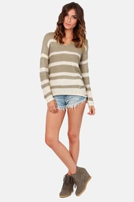 Knit Girl Ivory and Taupe Striped Sweater at Lulus.com!