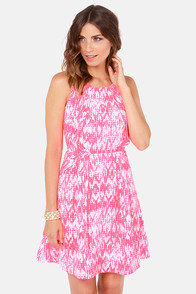 Heart of Fold Neon Coral Print Dress at Lulus.com!