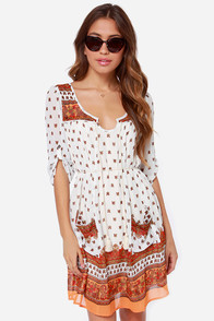 Wait and Gypsy Ivory Paisley Print Shift Dress at Lulus.com!