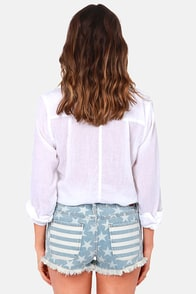 Roxy Rollers Striped and Star Print Jean Shorts at Lulus.com!