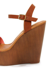 Emily 34 Peach and Tan Platform Wedge Sandals at Lulus.com!