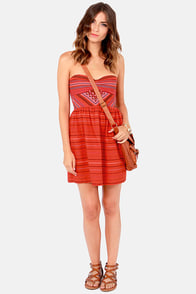 Roxy Fall Doll Red Print Dress at Lulus.com!