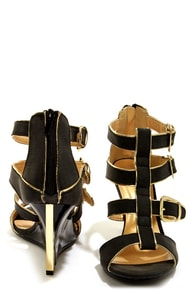 Shoe Republic LA Eira Black and Gold Belted Wedge Sandals at Lulus.com!