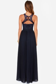 Bariano Luciana Navy Blue Lace Maxi Dress at Lulus.com!