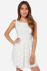 Sunshine Daydream Ivory Lace Dress at Lulus.com!