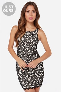 LULUS Exclusive Loft Party Cream and Black Lace Dress at Lulus.com!