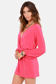Camellia-on Club Coral Pink Romper at Lulus.com!