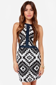 Marrakesh Kiss Black Print Dress at Lulus.com!