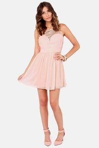 Champagne Bubbles Blush Pink Sequin Dress at Lulus.com!