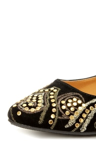 City Classified Cathy Black Embroidered and Studded Pointy Flats at Lulus.com!