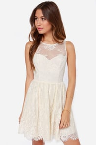 Leap of Lace Cream Lace Dress at Lulus.com!